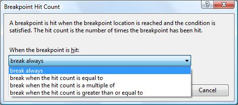 Hit Count Window In Visual Studio 2005